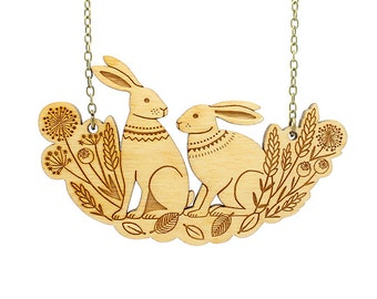 Spring hares necklace ~ woodland laser cut necklace