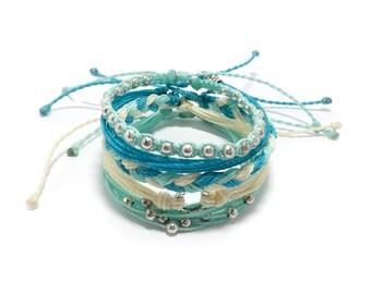 Robin Butter Ahoy Blue Bracelet Stack, Set of Five Adjustable Waterproof Multi-Strand, with Metal Beads,