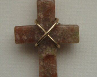 Natural Mottled Agate Carved Gemstone Cross Pendant, 14k Gold Filled Wire Wrapped Necklace