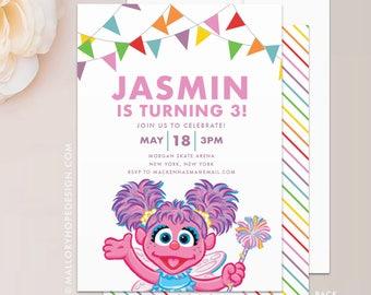 Abby Cadabby Birthday Invitation - Sesame Street Birthday Invitation, Sesame Street Invitation, Digital File Template & INSTANT DOWNLOAD