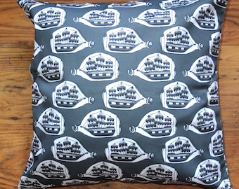 Playful Boat in a bottle cotton drill cushion 45cm X 45cm