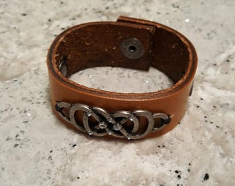 Handmade leather cuff bracelet w/ jeweled scrolling #5
