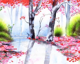 Watercolor landscape printable, watercolor printable landscape