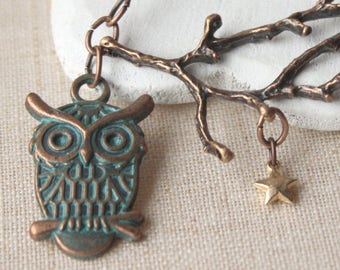 Owl Necklace, bird on a branch pendant, owl jewellery, antiqued copper necklace, choose your one length chain N35