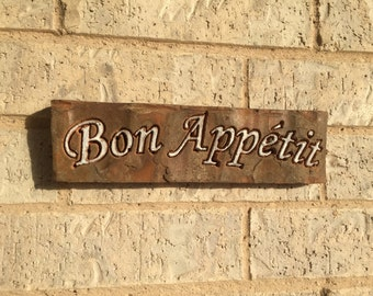 Bon Appetit Repurposed Brick and Metal Kitchen Sign