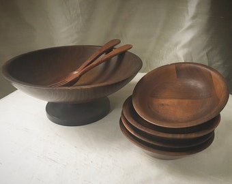 Mid Century Modern Set of Wood Bowls | Vintage Farmhouse Wooden Bowl Set with Serving Spoon and Fork | Wooden Bowls | Wood Bowl Set