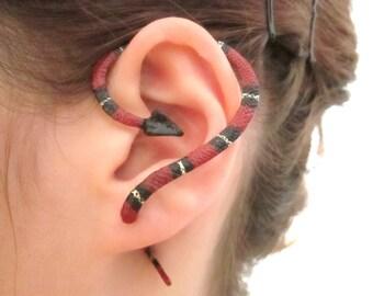 Red and black snake ear cuff jacket, Fake snake gauge, snake earring