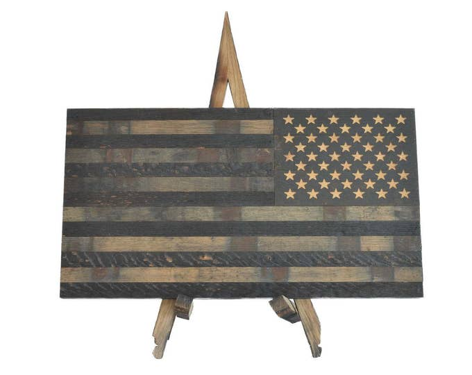 Bourbon Whiskey Barrel Defender Flag- USA Flag Made From Oak Barrel Wood