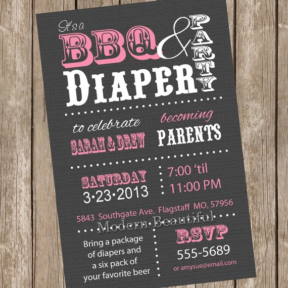 Couples BBQ And Diaper Baby Shower Invitation Diaper