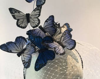Fascinator Bans- Butterfly Fascinator- Blue Fascinator- Headdress- Butterfly hat- Derby fascinator -Kentucky Derby Hat- Mad Hatter Hat