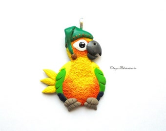 Sun conure funny  hat ornament / necklace / magnet/ key chain, handmade!