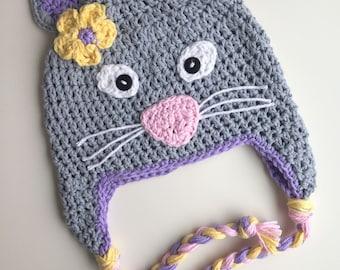 baby hat, Cat hat,  kitty hat, cat hat, crochet kitty hat, crochet cat hat, girls kitten hat, girls hat, animal hat, baby winter hat