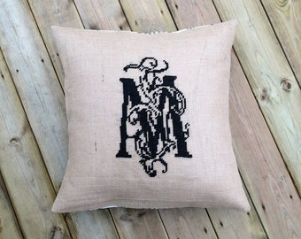 MONOGRAM,monogram pillow,personalized pillow,personalized gift,pillow cover,cross stitch,needlepoint,embroidery,burlap,diy,anetteeriksson