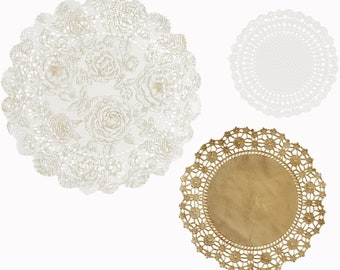 Metallic doilies, 24 x paper doilies in 3 different sizes, party decorations, paper tableware, elegant, holiday table, holidays