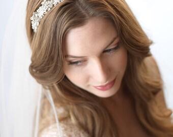 Swarovski Crystal Bridal Headband, Silver Rhinestone Bridal Headband, Floral Wedding Headpiece, Accessories,Crystal Beaded Headband ~TI-3069