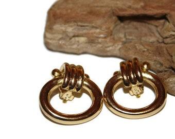 Vintage Gold Door Knocker Earrings, Vintage Gold Told Earrings, Gold Jewelry, Gold Earrings, Classic Jewelry, 1980s Jewelry, 80s Jewelry