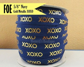 "Navy & Metallic Gold Foil : XOXO Fold Over Elastic Printed. Valentine's foe - 5/8"" foe 2, 5, 10 Yards. DIY Headband Supplies"