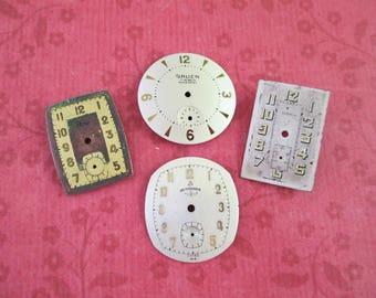 4 Vintage Watch Faces - Gruen, Normandie, Birks