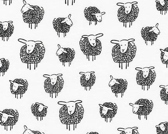 Black and White Sheep and Lambs From Robert Kaufman's Wooley Sheep Collection by Kris Ruff- 17632
