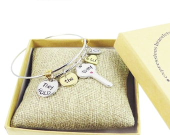 Hand Stamped Custom Mother's Day - They hold the key to My Heart Children's Name & Birthdate - Mom Bracelet - Mother's Open Heart Bracelet
