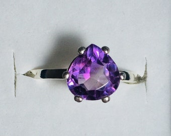 Genuine African Amethyst, tear drop shaped stone. 925 Sterling Silver Ring, Size 7.