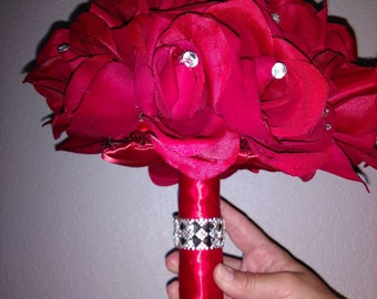 Classy Red Satin Rhinestone Embellishments Bridal Bouquet
