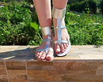 ARYA sandals/ Greek leather sandals/ ankle cuff sandals/ ancient grecian sandals/thong / silver sandals/ Roman sandals