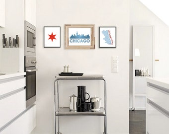 Chicago Wall Art Trio, Chicago Flag Star, Sweet Home Chicago DIY Printable Digital City Wall Art, Print At Home - Set of 3
