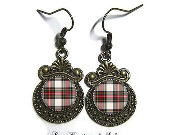 Earings, bronze, glass, 12 mm, Scottish tartan (180218)