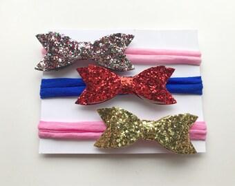 nylon headband - baby nylon bow - newborn headband - glitter nyom headband - glitter bow nylon headband -bahy shower gift - spring nylon