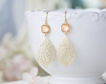 Gold and Peach Earrings Paisley Filigree Dangle Earrings Peach Champagne Wedding Bridal Earrings Bridesmaid Earrings Gift for Her