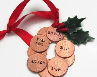 Personalized Babys First Christmas Ornament, Baby Stats Ornament, Babys First Christmas, Baby Ornament, Penny Ornament, Wreath Ornament