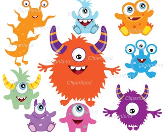 INSTANT Download.  Monsters clipart. CM_8. Personal and commercial use.