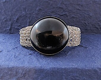 Fine silver woven bracelet with black onyx