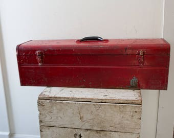 Long Large Industrial Metal Toolbox - Red Tool Box Case Tackle Box Steel Rusted Patina Ratrod Storage Container