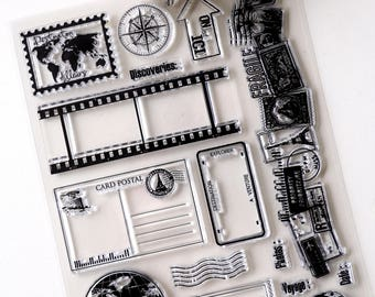 Adventure Clear rubber Stamps/Planner Stamps/Stamp Set/travel Stamps/Planning accessory/