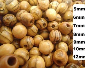 Olive Wood Round Beads Polished Rosary Jewelry Holy land Bethlehem Jerusalem