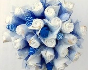 It's a Boy - Diaper Bouquet - Baby Shower Decoration - Shower Centerpiece - Diaper Cake - Congrats New Mom Gift - Welcome Baby