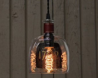 Barton 1792 Bottle Pendant Light - Upcycled Industrial Glass Ceiling Light - Handmade Bourbon Bottle Light Fixture, Recycled Lighting