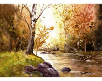 watercolor Painting PRINT Fall sycamore Trees Landscape River Stream reflections GICLEE 5x7