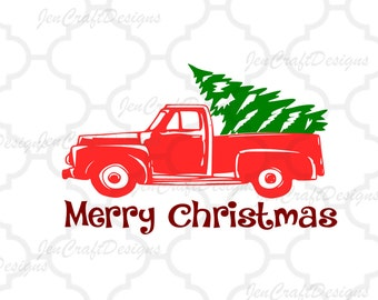 Red Christmas Truck, svg, cut file, Antique, vector, tree, winter holidays Vintage SVG classic truck svg dxf, eps, png Silhouette, Cricut