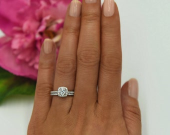 225 ctw Classic Square Halo Bridal Set Ring Wedding Set Man