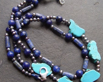 Blue Wonder - Lapis Lazuli, Turquoise and Pearls Necklace