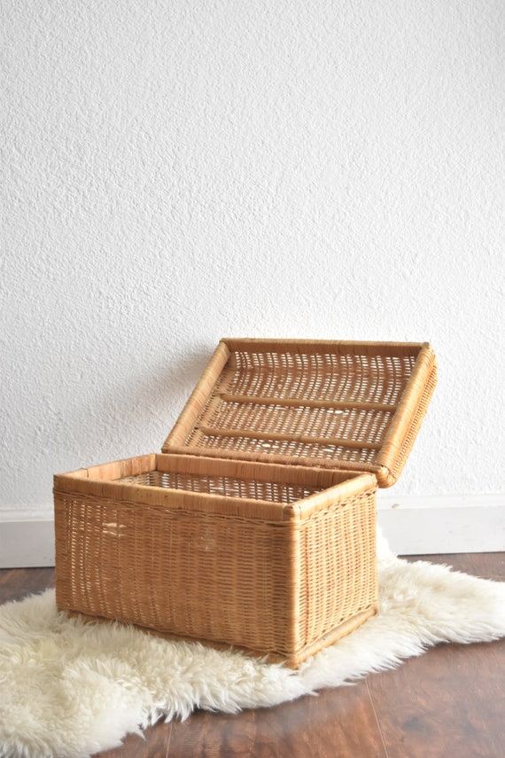 woven bamboo rattan wicker chest with lock / trunk / basket