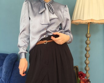 Vintage blue silky blouse with tie