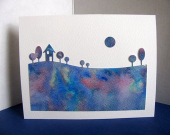 Watercoloured Landscape Silhouette with Moon on Creamy Ivory Card / Blue Shades, Touch of Red & Green / A2 Size / Ready to Ship