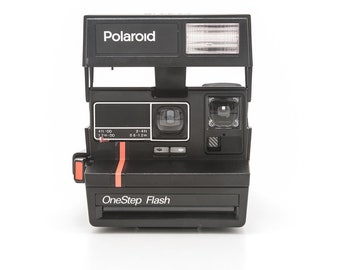 Polaroid OneStep Flash Red Stripe Instant Camera - film tested and working 80s Retro Camera