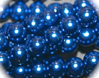 x 30 electric 8mm Blue Pearl glass beads