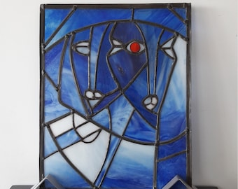 Large stained glass blue picasso