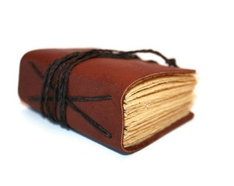 Leather Journal, Vow Book, Brown Pocket Notebook, Groomsman Gifts, Writing Journal, Fall Gifts, Small bound book